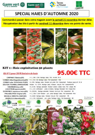 SPECIAL HAIES D'AUTOMNE 2020