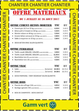 OFFRE SPECIALE MATERIAUX