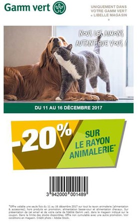 Offre promotionnelle Animalerie
